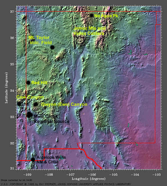 New Mexico Physical Map - New mexico elevation map